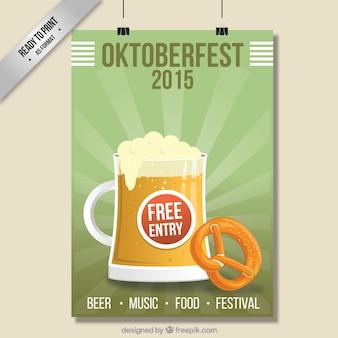 Cartel de oktoberfest con la taza de cerveza