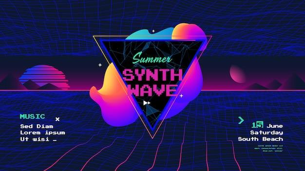 Cartel de onda retro de sintetizador de verano con volante de neón de música electrónica de amanecer de los años 80