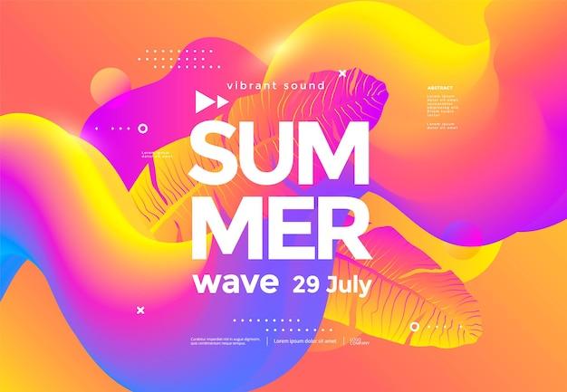 Cartel de onda de verano de festival de música electrónica con formas fluidas y hoja de palma degradada.