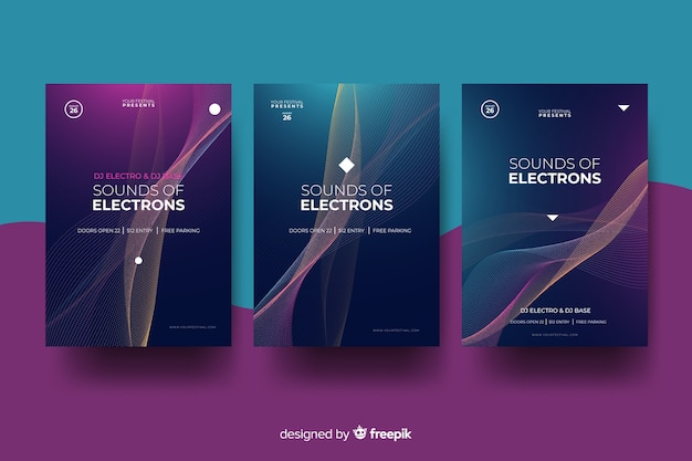 Cartel de ondas de sonido de música electrónica