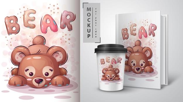 Cartel de oso de peluche y merchandising. dibujar a mano