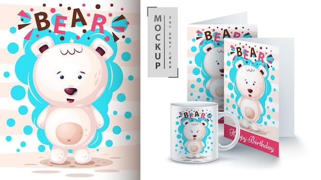 Cartel de oso polar y merchandising.
