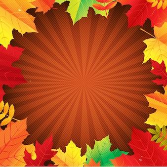 Cartel de otoño con hojas con malla de degradado, ilustración