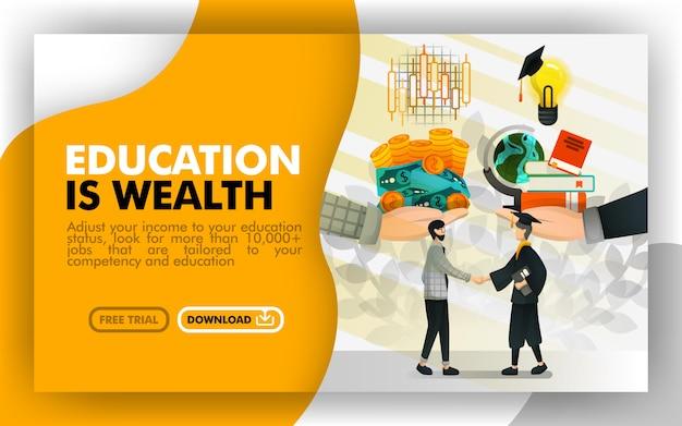 Cartel de la página de la educación es la riqueza