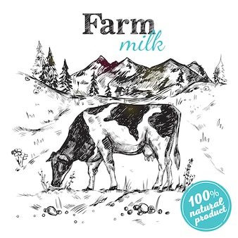 Cartel de paisaje de granja de vacas
