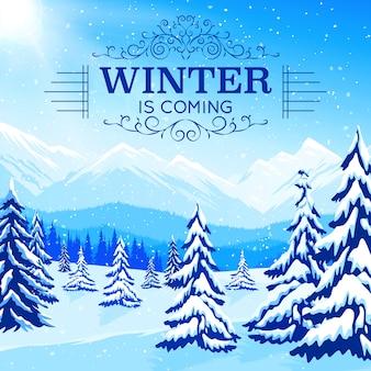 Cartel de paisaje de invierno con árboles nevados y montañas en estilo plano
