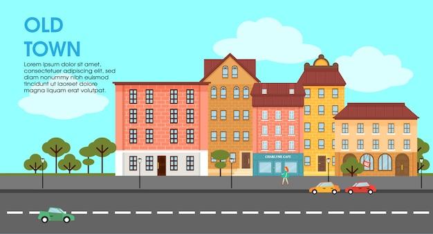 Cartel de paisaje urbano colorido plano