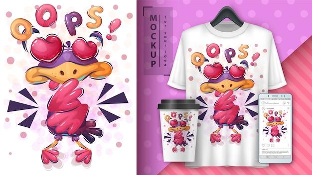Cartel de pájaro de amor y merchandising.