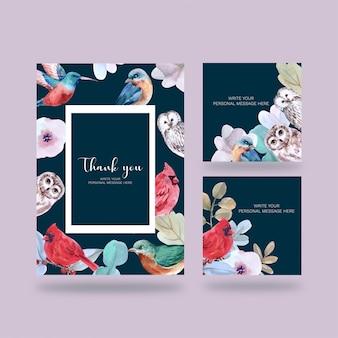 Cartel de pájaros, postal elegante para decoración