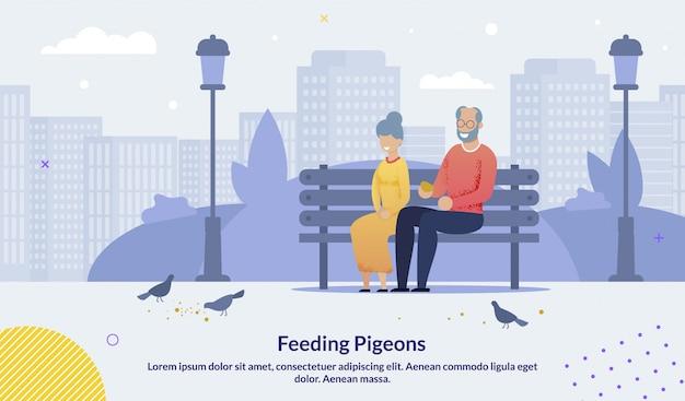 Cartel de palomas de alimentación pareja de ancianos mayores de dibujos animados