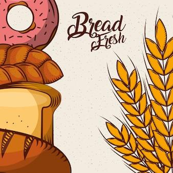 Cartel de pan dulce con rosquillas crudas y pan dulce
