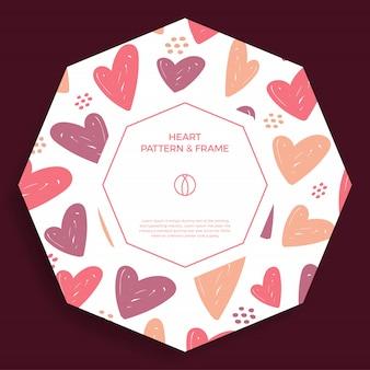 Cartel, pancarta o tarjeta borde del marco con la mano del amor dibujar el patrón de corazón de color de moda