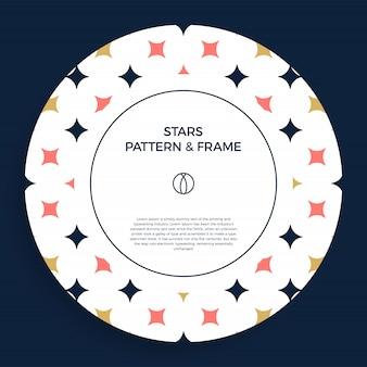 Cartel, pancarta o tarjeta marco de borde con patrón de estrella de color de moda ornamental.