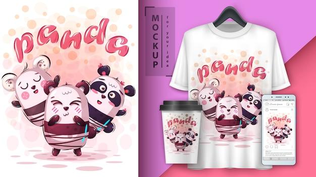 Cartel de panda amigo y merchandising