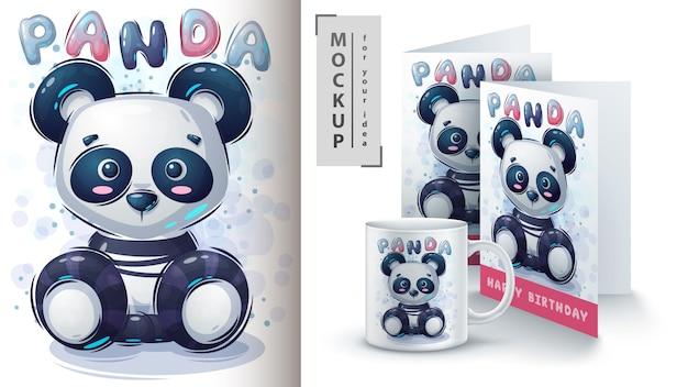 Cartel de panda de peluche y merchandising