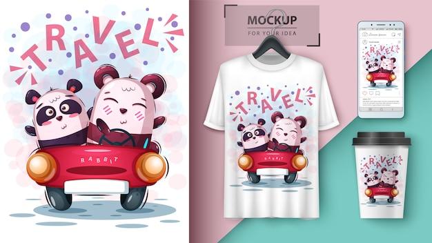 Cartel panda de viaje y merchandising.