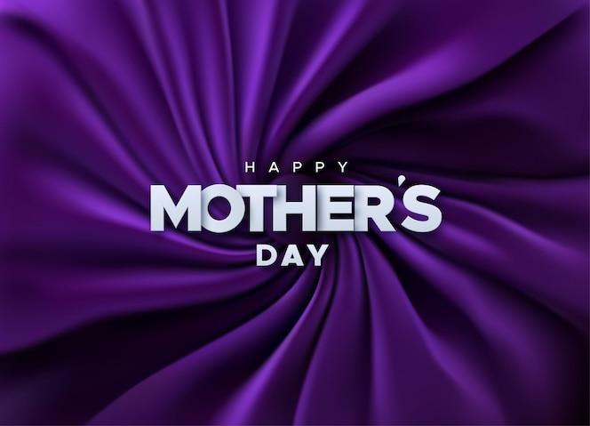 Cartel de papel feliz día de la madre en tela de terciopelo púrpura