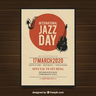 Cartel para el día internacional del jazz en estilo vintage