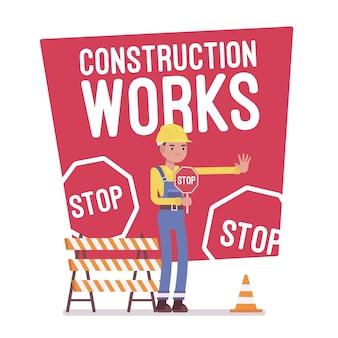 Cartel de parada de obras de construcción