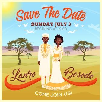 Cartel de pareja de boda africanos