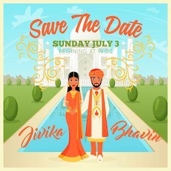 Cartel de pareja de boda indios