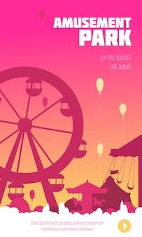 Cartel del parque de atracciones con carrusel de noria y siluetas de carpa de circo en la ilustración de fondo al atardecer