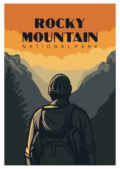 Cartel del parque nacional de las montañas rocosas