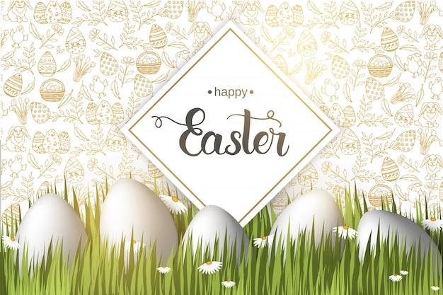 Cartel de pascua con huevos en la hierba, letras de moda hechas a mano