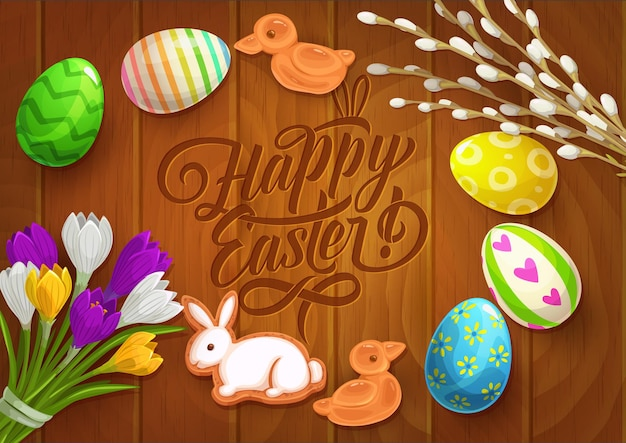Cartel de pascua con huevos pintados, flores de azafrán