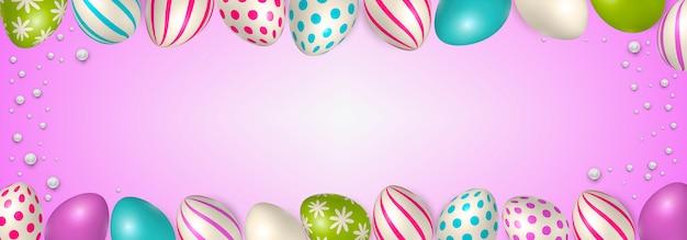 Cartel de pascua y plantilla de banner con huevos de pascua