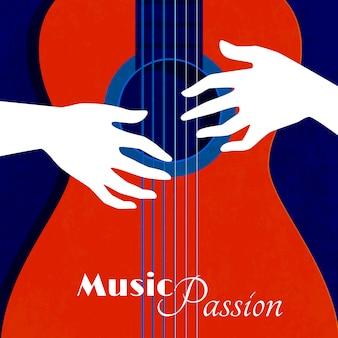 Cartel de la pasión de la música con la silueta de la guitarra roja sobre fondo azul y las manos masculinas en las cuerdas ilustración vectorial plana
