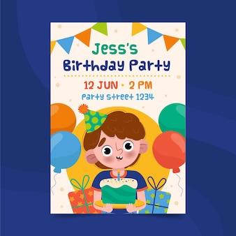 Cartel de pastel de celebración de niño feliz cumpleaños