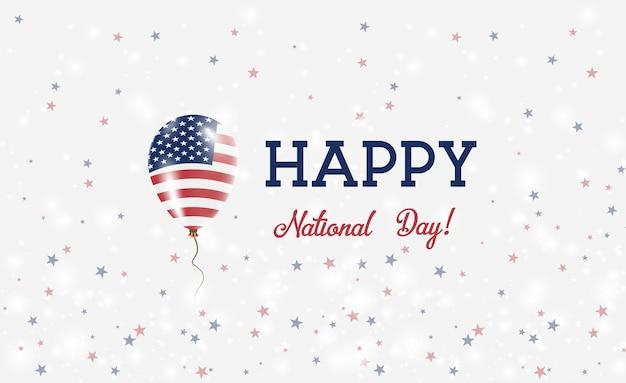 Cartel patriótico del día nacional de estados unidos. globo de goma volador en colores de la bandera estadounidense. fondo del día nacional de estados unidos con globo, confeti, estrellas, bokeh y destellos.