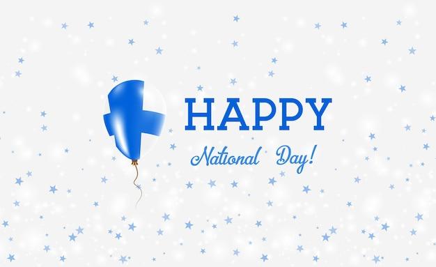 Cartel patriótico del día nacional de finlandia. globo de goma volador en colores de la bandera finlandesa. fondo del día nacional de finlandia con globo, confeti, estrellas, bokeh y destellos.