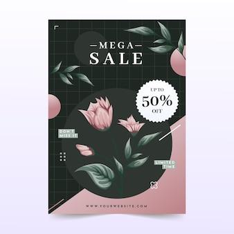 Cartel de patrón floral de mega venta