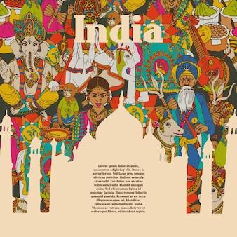 Cartel de patrones de símbolos culturales de india