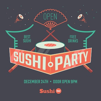 Cartel de patry de sushi