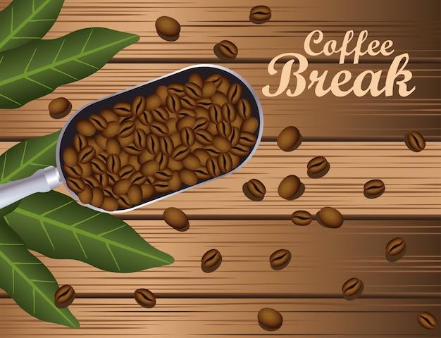 Cartel de pausa para el café con cuchara y granos en el fondo de madera, diseño de ilustraciones vectoriales