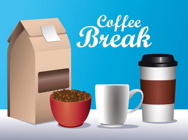 Cartel de pausa para el café con iconos de conjunto en fondo azul, diseño de ilustraciones vectoriales