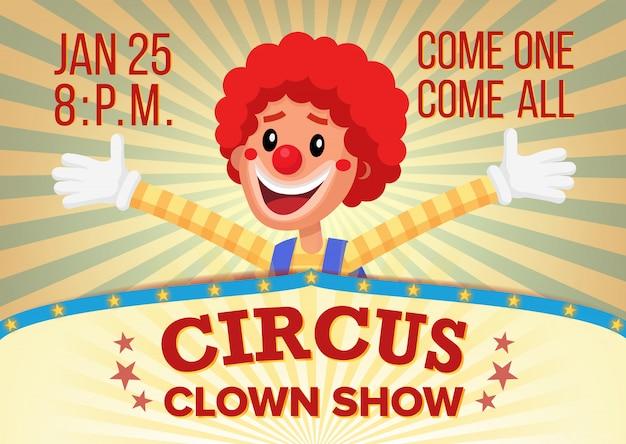 El cartel del payaso de circo invita a la plantilla.