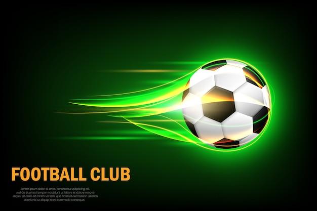 Cartel de pelota de fútbol llameante para el juego deportivo de fútbol. balón de fútbol volador con desenfoque de movimiento verde brillo.