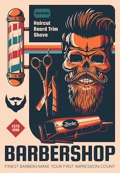 Cartel de peluquería, afeitado de barba y peluquería.