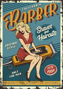 Cartel de peluquería vintage