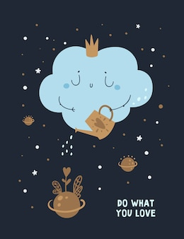 Cartel de pensamiento positivo, tarjeta con frase de motivación. haz lo que amas. amas lo que haces
