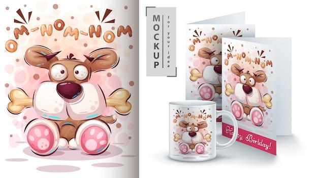 Cartel de perro de dibujos animados y merchandising