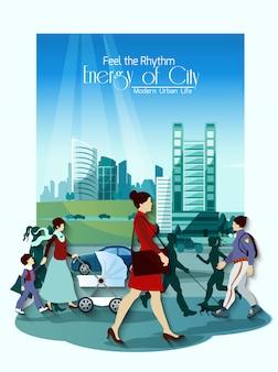 Cartel de personas de la ciudad