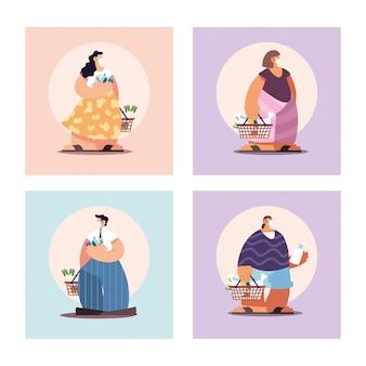 Cartel con personas en compras de supermercado, distanciamiento social por coronavirus