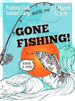 Cartel de la pesca de la publicidad dibujada a mano