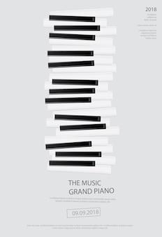 Cartel de piano de cola de música