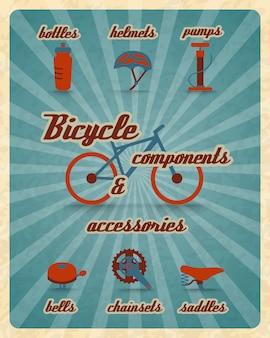Cartel de piezas de bicicleta